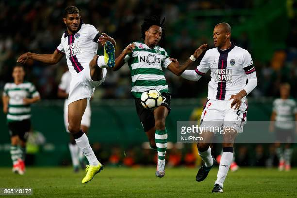 Sporting's forward Gelson Martins vies for the ball with Chaves's defender Djavan and Chaves's defender Anderson Conceicao during Primeira Liga...