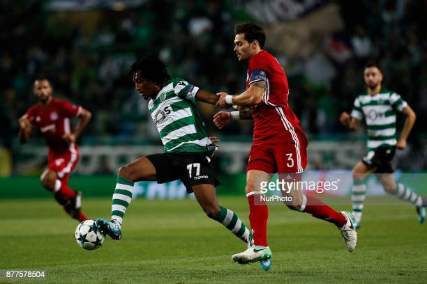 Sporting's forward Gelson Martins vies for the ball with Olympiakos's defender Alberto Botia during Champions League 2017/18 match between Sporting...