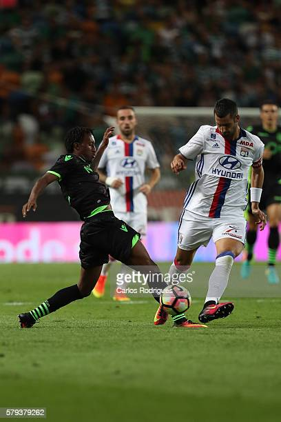 Sporting's forward Gelson Martins vies with Lyon's midfielder Maxime Gonalons during the Friendly match between Sporting CP and Lyon at Estadio Jose...