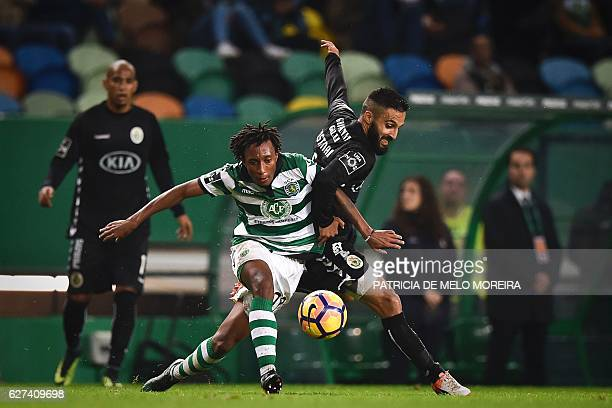 Sporting's forward Gelson Martins vies with Setubal's midfielder Joao Costinha during the Portuguese league football match Sporting CP vs Vitoria...