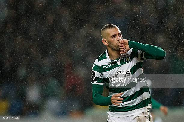 Sporting's forward Islam Slimani celebrates his goal during the Portuguese League football match between Sporting CP and SC Braga at Jose Alvalade...