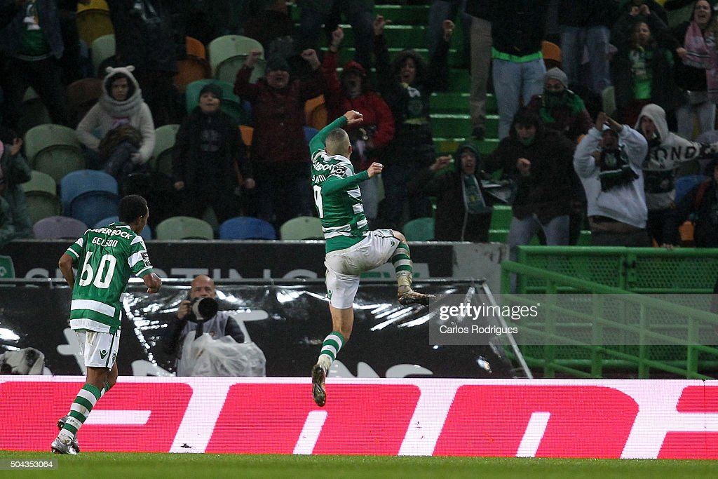 Sporting's forward Islam Slimani celebrates scoring Sporitng«s third goal during the match between Sporting CP and SC Braga for the Portuguese Primeira Liga at Jose Alvalade Stadium on September 21 2015 in Lisbon, Portugal.