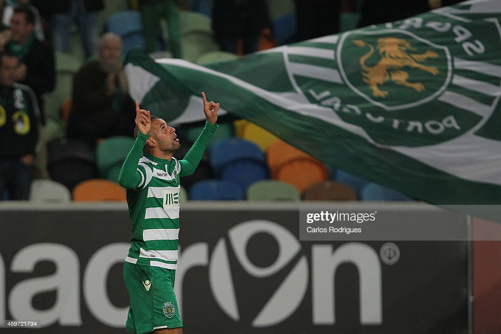Sporting's forward Islam Slimani celebrates scoring Sporting«s first goal during the Primeira Liga Portugal match between Sporting CP and Vitoria Setubal at Estadio Jose Alvalade on November 29, 2014 in Lisbon, Portugal.