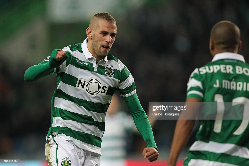 Sporting's forward Islam Slimani celebrates scoring Sporting«s first goal during the match between Sporting CP and CD Tondela for the Portuguese Primeira Liga at Jose Alvalade Stadium on January 15, 2016 in Lisbon, Portugal.