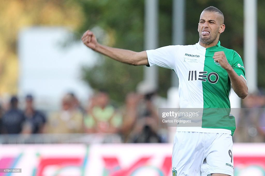 Sporting's forward Islam Slimani celebrates scoring the winning penalty kick during the Portuguese Cup Final between Sporting CP and SC Braga at Estadio Nacional on May 31, 2015 in Oeiras, Portugal.