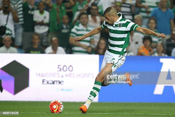 Sporting's forward Islam Slimani during the Portuguese Super Cup match between SL Benfica and Sporting CP at Estadio Algarve on August 9 2015 in Faro...