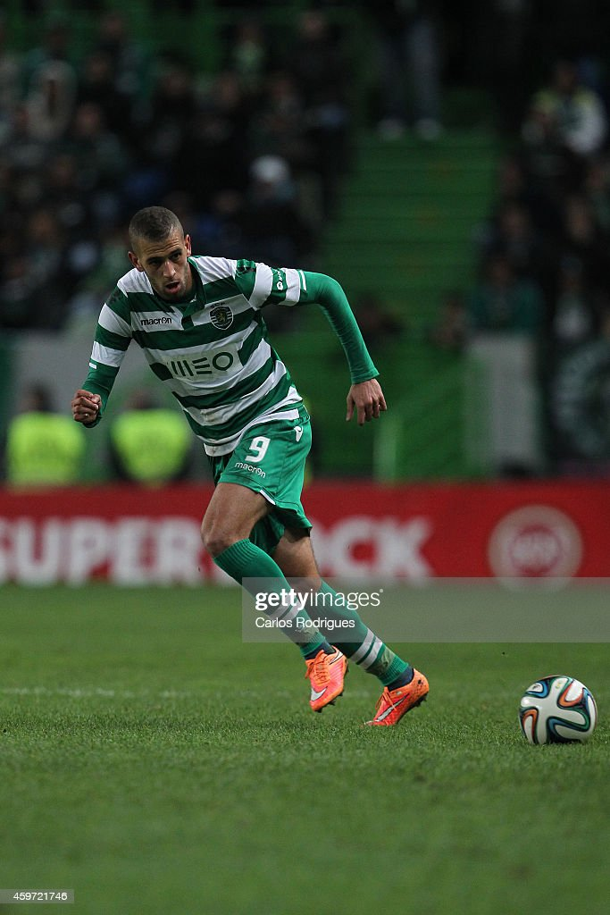 Sporting's forward Islam Slimani during the Primeira Liga Portugal match between Sporting CP and Vitoria Setubal at Estadio Jose Alvalade on November 29, 2014 in Lisbon, Portugal.