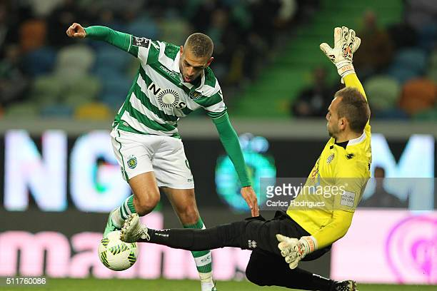 Sporting's forward Islam Slimani tries to pass trough Boavista's goalkeeper Mika during the match between Sporting CP and Boavista FC for the...