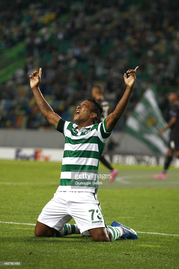 Sporting's forward Matheus Pereira celebrates Sporting´s goal during the match between Sporting CP and KF Skenderbeu for UEFA Europe League: Group Round on October 22, 2015 in Lisbon, Portugal.
