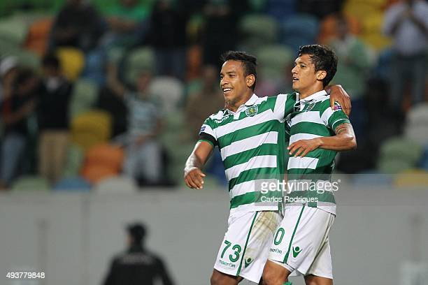 Sporting's forward Matheus Pereira with Sporting's forward Fredy Montero celebrates scoring Sporting goal during the match between Sporting CP and KF...