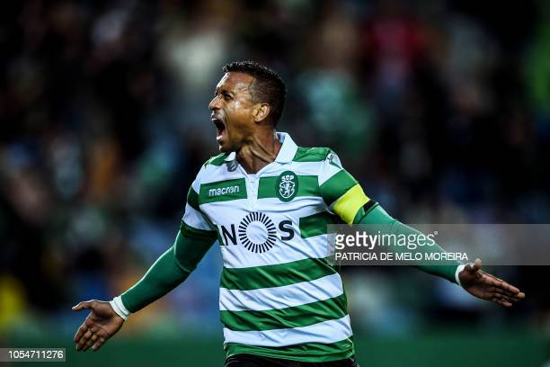 Sporting's forward Nani celebrates a goal during the Portuguese league football match between Sporting CP and Boavista FC at the Jose Alvalade...