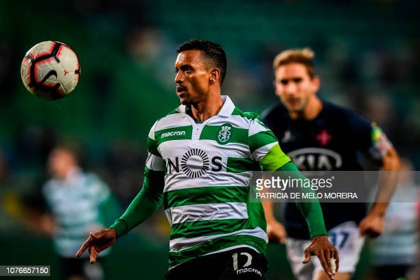 Sporting's forward Nani eyes the ball during the Portuguese League football match between Sporting CP and OS Belenenses at the Jose Alvalade stadium...