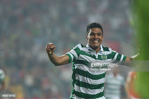Sporting's Forward Teo Gutierrez celebrating scoring Sporting«s goal during the Portuguese Super Cup match between SL Benfica and Sporting CP at...