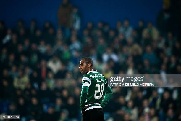 Sporting's forward Wilson Eduardo reacts after missing a goal opportunity during the Portuguese league football match Estoril Praia vs Sporting CP at...
