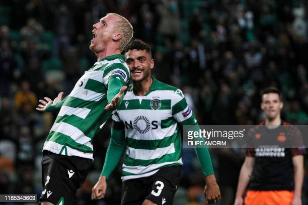 Sporting's French defender Jeremy Mathieu celebrates after scoring a goal during the UEFA Europa League Group D football match between Sporting CP...