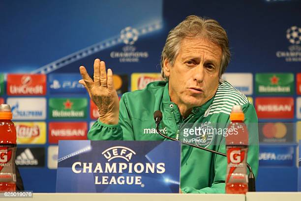 Sporting's head coach Jorge Jesus attends a press conference at the Alvalade stadium in Lisbon Portugal on November 21 on the eve of their UEFA...