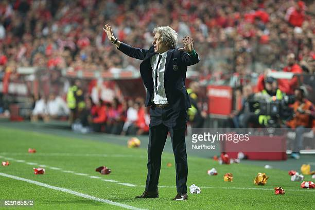 Sportings head coach Jorge Jesus from Portugal during Premier League 2016/17 match between SL Benfica and Sporting CP at Estadio da Luz in Lisbon on...