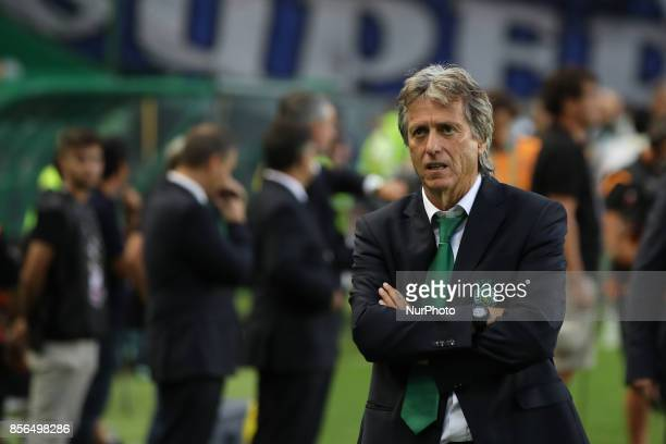 Sportings head coach Jorge Jesus from Portugal during Premier League 2017/18 match between Sporting CP and FC Porto at Alvalade Stadium in Lisbon on...