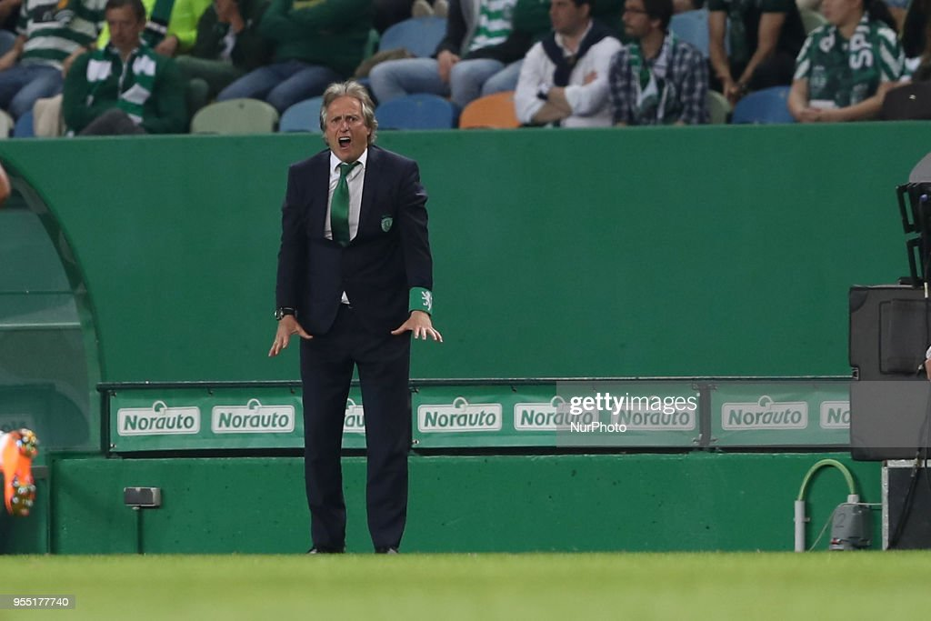 Sporting's head coach Jorge Jesus from Portugal reacts during the Primeira Liga football match Sporting CP vs SL Benfica at the Alvadade stadium in Lisbon, Portugal, on May 5, 2018.