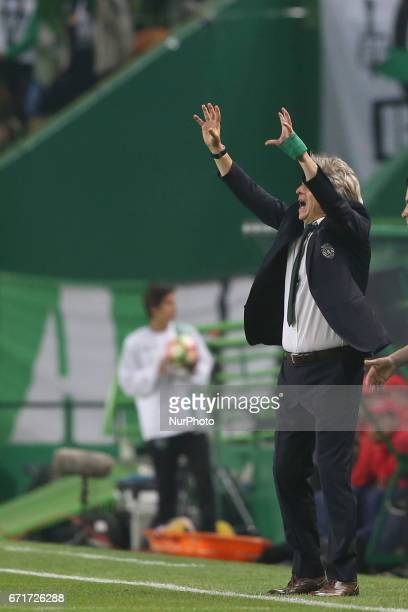 Sporting's head coach Jorge Jesus reacts during the Portuguese League football match Sporting CP vs SL Benfica at the Alvadade stadium in Lisbon on...