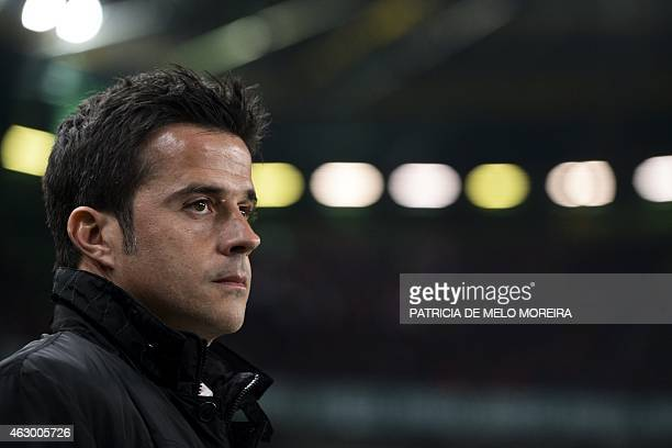 Sporting's head coach Marco Silva looks on moments before the Portuguese league football match Sporting CP vs SL Benfica at Alvalade stadium on...