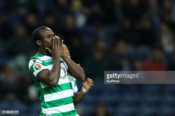 Sporting's Ivorian forward Seydou Doumbia reacts during the Portuguese Cup 2017/18 match between FC Porto and Sporting CP at Dragao Stadium in Porto...