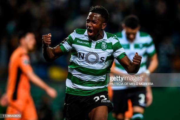 Sporting's Malian forward Abdoulay Diaby celebrates after scoring a goal during the Portuguese league football match between Sporting CP and...
