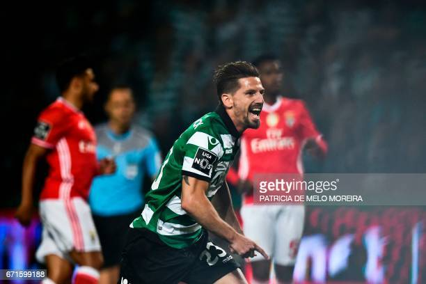 Sporting's midfielder Adrien Silva celebrates a goal during the Portuguese league football match Sporting CP vs SL Benfica at the Jose Alvalade...
