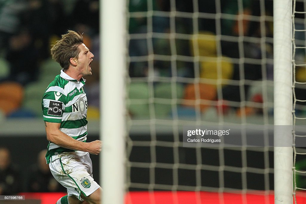 Sporting's midfielder Adrien Silva celebrates scoring Sporting's first goal during the match between Sporting CP and A Academica de Coimbra for the Portuguese Primeira Liga at Jose Alvalade Stadium on January 30, 2016 in Lisbon, Portugal.