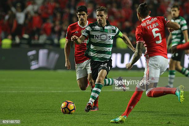 Sportings midfielder Adrien Silva from Portugal during Premier League 2016/17 match between SL Benfica and Sporting CP at Estadio da Luz in Lisbon on...