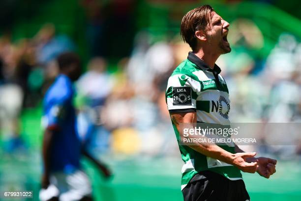 Sporting's midfielder Adrien Silva shouts after missing a goal opportunity during the Portuguese league football match Sporting CP vs OS Belenenses...