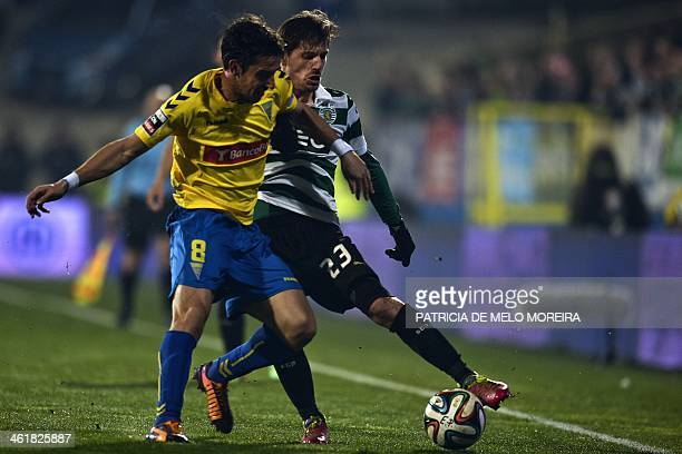Sporting's midfielder Adrien Silva vies with Estoril's midfielder Filipe Goncalves during the Portuguese league football match Estoril Praia vs...