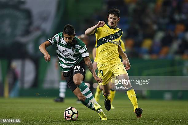 Sporting's midfielder Alan Ruiz vies for the ball with Pacos Ferreira's forward Vasco Rocha during Premier League 2016/17 match between Sporting CP...