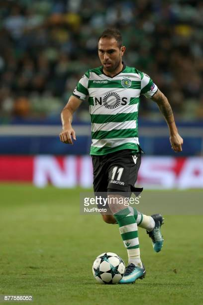Sporting's midfielder Bruno Cesar from Brazil in action during the UEFA Champions League group D football match Sporting CP vs Olympiacos FC at...