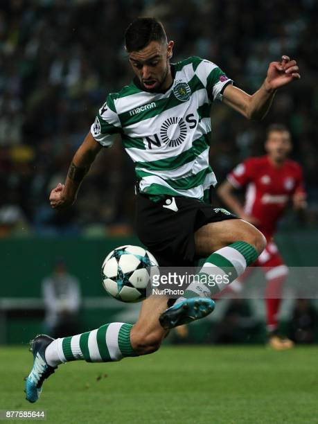 Sportings midfielder Bruno Fernandes during the UEFA Champions League group D match between Sporting CP and Olympiacos FC at Alvalade Stadium on...