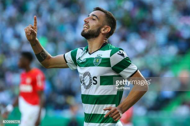 Sportings midfielder Bruno Fernandes from Portugal celebrating after scoring a goal during the Preseason Friendly match between Sporting CP and AS...