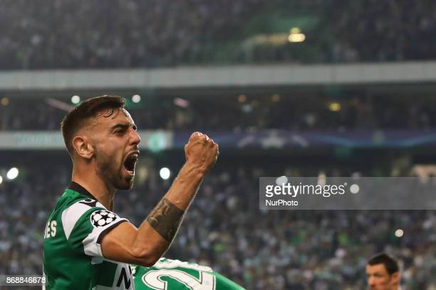 Sportings midfielder Bruno Fernandes from Portugal celebrating with fans during the match between Sporting CP v Juventus FC UEFA Champions League...