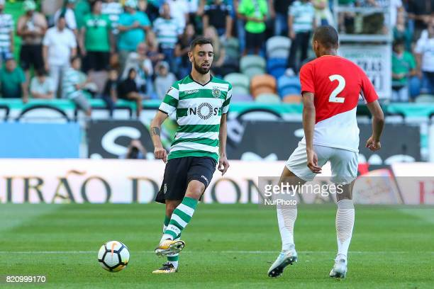 Sportings midfielder Bruno Fernandes from Portugal during the Preseason Friendly match between Sporting CP and AS Monaco at Estadio Jose Alvalade on...