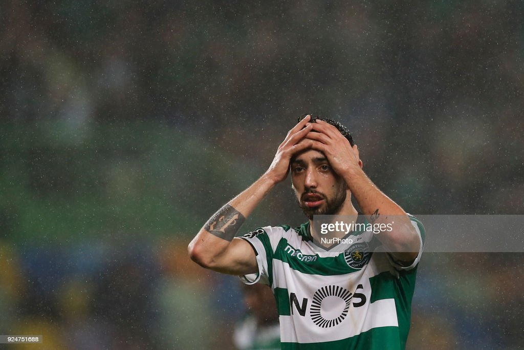 Sporting's midfielder Bruno Fernandes reacts during Primeira Liga 2017/18 match between Sporting CP vs Moreirense FC, in Lisbon, on February 26, 2017.