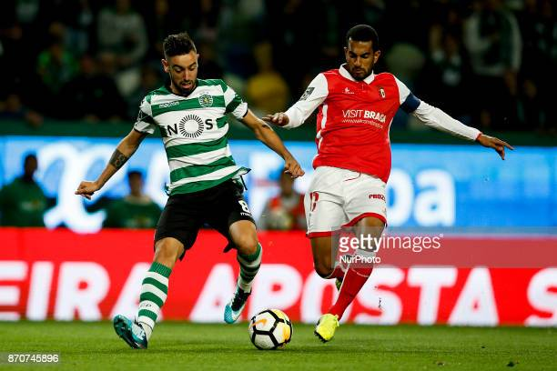Sporting's midfielder Bruno Fernandes vies for the ball with Braga's defender Marcelo Goiano during Primeira Liga 2017/18 match between Sporting CP...
