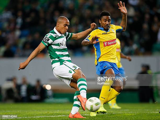 Sporting's midfielder Joao Mario kicks the ball to score during the Portuguese League football match between Sporting CP and FC Arouca at Jose...