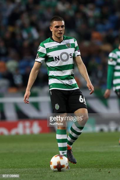 Sporting's midfielder Joao Palhinha from Portugal in action during the UEFA Europa League round of 32 second leg football match between Sporting CP...