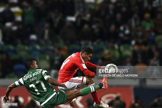 Sporting's midfielder Luis Carlos da Cunha Nani vies with Benfica's Uruguayan defender Maxi Pereira during the Portuguese league football match...
