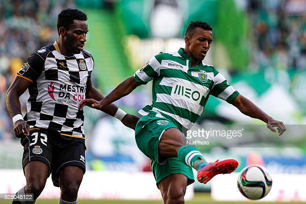 Sporting's midfielder Luis Carlos da Cunha quotNaniquot vies with Boavista's defender Aaron Appindangoye during the Portuguese League football match...