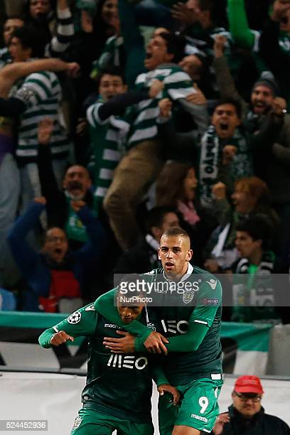 Sporting's midfielder Nani celebrates his goal with Sporting's forward Islam Slimani during the UEFA Champions League group G football match between...