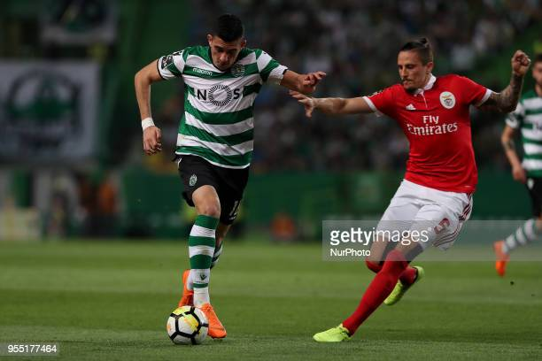 Sporting's midfielder Rodrigo Battaglia from Argentina vies with Benfica's Serbian midfielder Ljubomir Fejsa during the Primeira Liga football match...