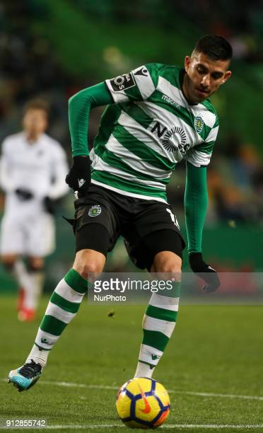 Sporting's midfielder Rodrigo Battaglia in action during the Portuguese League football match between Sporting CP and Vitoria SC at Jose Alvalade...