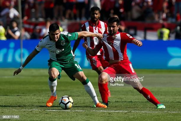 Sporting's midfielder Rodrigo Battaglia vies for the ball with Desportivo Aves's midfielder Braga during the Portugal Cup Final football match...