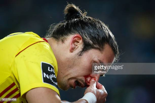 Sporting's midfielder Ruben Ribeiro after an injury during the Portuguese League football match between Sporting CP and Rio Ave FC at Jose Alvalade...