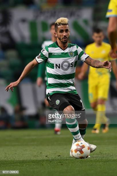 Sporting's midfielder Ruben Ribeiro from Portugal in action during the UEFA Europa League round of 32 second leg football match between Sporting CP...